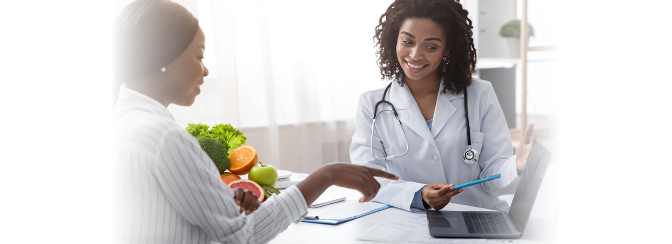 African american woman dietologist consulting patient,