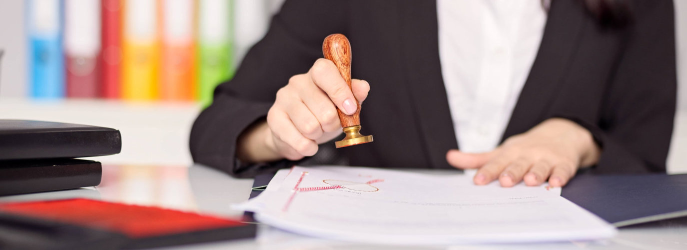 woman doing notary